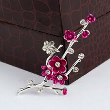 Pink Plum Blossom Flower Brooch Pin Alloy Silver Plated Clear Rhinestone and