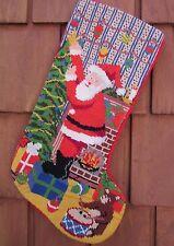"Christmas Stocking Handmade Needlepoint 17"" X 7"" 10"" at Foot Santa & Teddy Bear!"