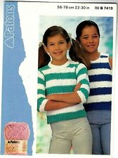Patons Cotton KNITTING PATTERN, Child's Girls Sweater and Vest