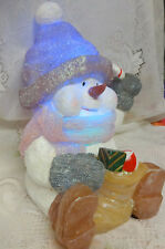 Vintage for Christmas Tree Shelf Table Night Light Changed Frosty Snowman Cute