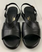 SAS Tripad Comfort Women Sandals Size 9 WW Black Leather Comfort Wedge