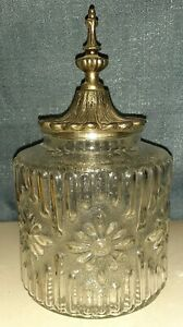 Vintage Molded Glass Apothecary Jar with Brass and Metal Spire Lid Flower Motif