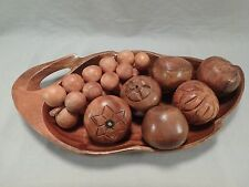 Carved Monkey Pod Wood Leaf Shaped Bowl Dish Wooden Fruit Grapes Strawberry