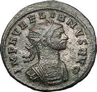 Aurelian receiving globe from Jupiter Ancient Roman Coin Possib Unpublis  i54463