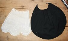 2 Antique Victorian Aprons White Lace & Wool