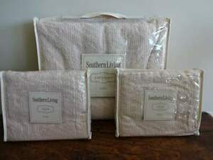 SOUTHERN LIVING MERRILL Vintage IVORY CROCHET Farmhouse KING COVERLET Set 3PC