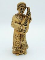 Antique Asian Chinese Carved Soapstone Lady Playing Music AS FOUND 4.75'' T