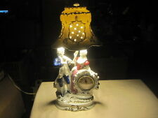 Vtg Porcelain Victorian Style Couple Figurine Lamp w Porcelain Shade and Clock!