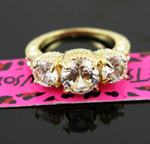 Women Elegant 3- White Crystal Wedding Ring Gold Colour Betsey Johnson Size 7
