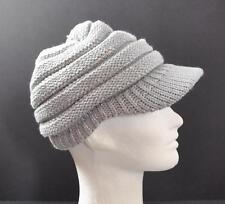 C.C Exclusives Knit Metallic Grey Horizontal Ribbed Hat Cap Brim Beanie Visor G1