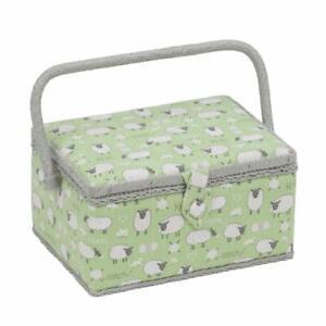 HobbyGift Medium Sewing Basket Sheep Design Green Grey Storage Box