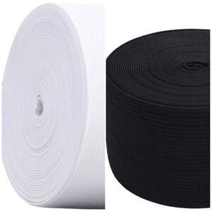 Black & White 6 Yard Each 2 Inch  12 Yard Flat Elastic Cord 2 Pieces