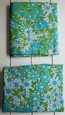 Vtg Penneys Fashion Manor Percale Twin Bed Flat & Fitted Sheets Blue Daisy Mod