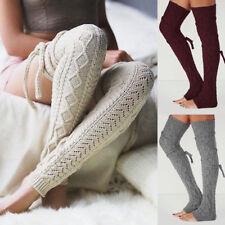Women Winter Leg Warmers Over Knee Crochet Knit Legging Stocking Long Boot Socks