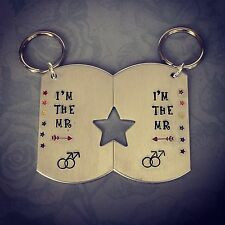 Male Couple Keyring. Gay, LGBT Wedding/Anniversary Gift. His & His Matching.