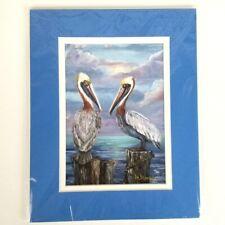 Brown Pelican Art Print Mary Moran Signed Matted Sea Bird Coastal Wildlife 8x10