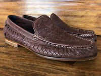 Mens Cole Haan Weave Leather Loafers Shoes Size 9.5 Brown Leather