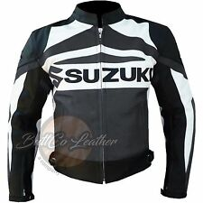SUZUKI GSX Motorbike Biker Racing Gun Metal Real Leather Jacket for motorcyclist
