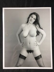 Vtg 50's Beautiful Bosomy Unshaven Nylons Girlie Nude Risque Pinup 8 X 10 Photo