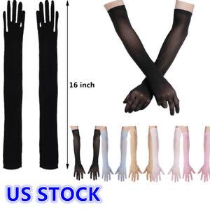 US _ Women Mesh See Through Full Finger Long Gloves Sheer Opera Gloves Mittens