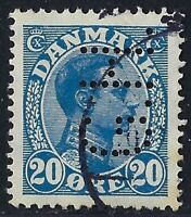 Denmark Perfin G14-G.H.: G. Harders Eftf. (1909-1920), 20 ore Blue, RF:75