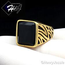 MEN's Stainless Steel Black Onyx Gold/Black Ring Size 8-13*R37