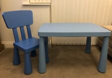 IKEA MAMMUT KIDS BLUE TABLE AND CHAIR - COLLECTION ONLY (BEDFORD)