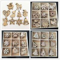 100x Christmas Snowflakes Wooden Pendants Xmas Tree Ornaments Home Hanging Wxm