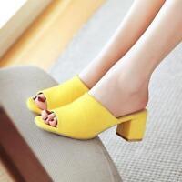 Womens ladies Faux Suede Block heel Slipper Mules Shoes Sandals pumps plus size