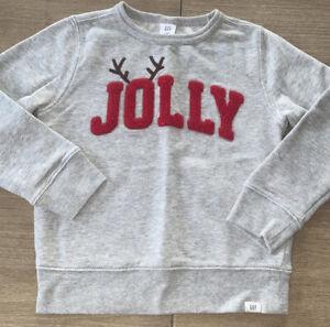 Baby Gap Retail Toddler Boy Jolly Embroidered Reindeer Christmas Sweatshirt 5 Yr