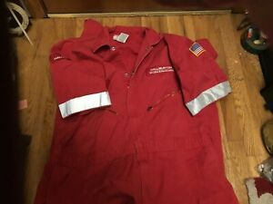 Great Red Halliburton work overalls size 52 tall,collect,sell or wear! See photo