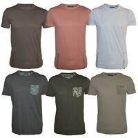 Mens Brave Soul Long line T-Shirt Short Sleeve Crew Neck 100% Cotton
