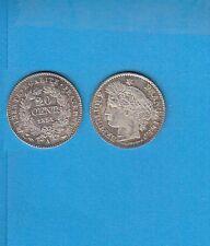Gertbrolen   20 Centimes argent type Cérès  1851 Paris  Lot B