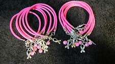 "One Dozen Pink Breast Cancer ""Hope"" with Glass Bead Bracelets **FREE SHIPPING**"
