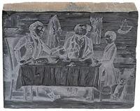 c. 1830, Woodblock Printing Plate - Backwood Cabin