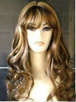 HELLOJF26 vogue long brown mixed golden blonde curly hair wigs wavy wig
