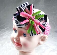 "4"" Baby Girl Toddlers Ribbon Boutique Corker Hair Bow Flower Clip headband K12"