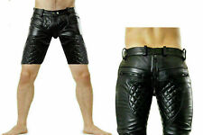 "28"" Men's Real Leather Quilted Padded with Double Zip Full Length Sport Shorts"