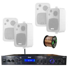 """Home Amplified Bluetooth MP3 Receiver, 4x 4"""" Box White Speakers, 16-G 50 Ft Wire"""