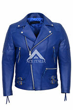Para Hombre Chaqueta De Cuero Estilo Motocicleta Azul Real Ocultar Chaqueta 233 son ckless