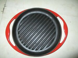 """Le Creuset France 10"""" Round Cast Iron Grill Pan Red Enamel #26"""