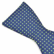 NWT - ETON Blue Green Dot Silk SELF TIE Mens Butterfly BOW TIE - 2.75""