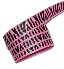 "5 yards Hot pink zebra print 5/8"" grosgrain ribbon by the yard DIY hair bows"