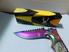 "(New) 8.5"" TheBoneEdge RAINBOW TITANTIUM FOLDING KNIFE- BELT CLIP---NICE--9643"