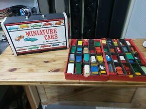 Vintage 1966 Mattel Black Miniature Cars Carry Case w/ 40 Vintage Matchbox Cars