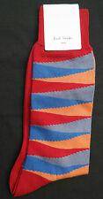 Paul Smith Para Hombre Calcetines italiano longitud media óptico Rayas Rojas F604 un tamaño de algodón