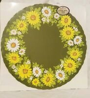 Vintage Hallmark Paper Placemats Party Green White/Yellow Flowers New Sealed 8ct