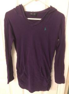 RALPH LAUREN Light Weight Hoodie Purple Long Sleeve Long T-Shirt Girls Sz XL16