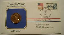 Bronze Harding Presidential Medal Gold Plated in Stamped Cover 1983