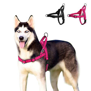 No Pull Nylon Dog Harness Adjustable Dog Vest for Large Dogs Walking Rose Black